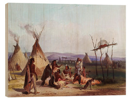 Print på træ  Funeral scaffold of a Sioux chief - Karl Bodmer