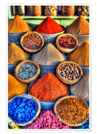 Premium-plakat Colorful spices on the bazaar in Marrakech