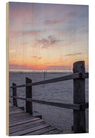 Print på træ  Jetty into the sea from St Peter Ording - Dennis Stracke