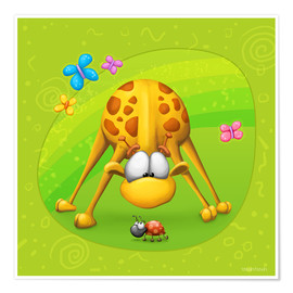 Premium-plakat Giraffe with beetle