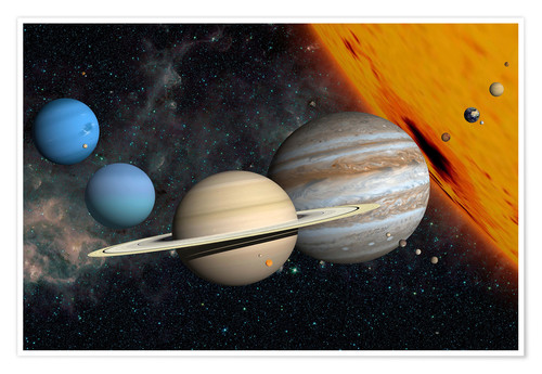 Premium-plakat Planets and moons
