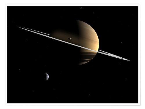 Premium-plakat Saturn and its moons Dione and Tethys