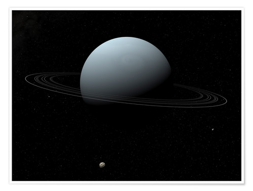 Premium-plakat Uranus and its tiny moon Puck