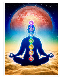 Premium-plakat  In meditation with chakras - red moon edition - Dirk Czarnota