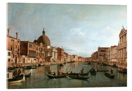Akrylbillede  Venice, The Grand Canal with Simeone Piccolo - Antonio Canaletto