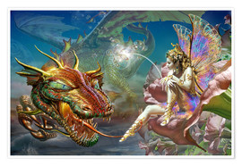 Premium-plakat The dragon and the fairy