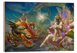 Print på træ  The dragon and the fairy - Adrian Chesterman