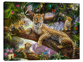 Lærredsbillede  Tree Top Leopard Family - Jan Patrik Krasny