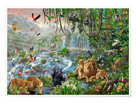Premium-plakat Jungle vandfald