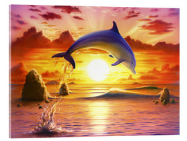 Akrylbillede  Day of the dolphin - sunset - Robin Koni