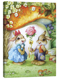 Lærredsbillede  Rabbits and rose - Petar Meseldzija