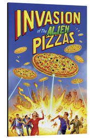 Print på aluminium  Invasion of the alien pizzas - Gareth Williams
