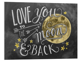 Print på skumplade  Love you to the moon - Lily & Val