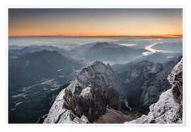 Premium-plakat Sunrise from Zugspitze mountain with view across the alps