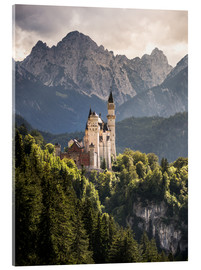 Akrylbillede  Neuschwanstein Castle in front of the Alps - Andreas Wonisch