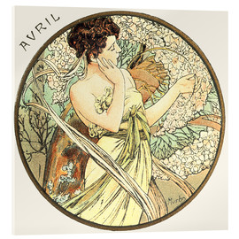 Akrylbillede  The Months ? Avril (April) - Alfons Mucha