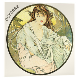 Akrylbillede  The Months ? Octobre (October) - Alfons Mucha