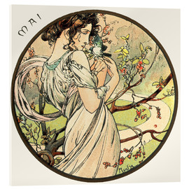 Akrylbillede  The Months ? Mai (May) - Alfons Mucha