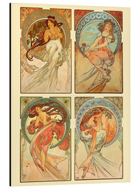 Print på aluminium  The four arts, collage - Alfons Mucha