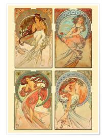 Premium-plakat  The four arts, collage - Alfons Mucha