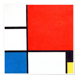 Premium-plakat Composition II in Red, Blue, and Yellow