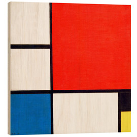 Print på træ  Composition II in Red, Blue, and Yellow - Piet Mondrian