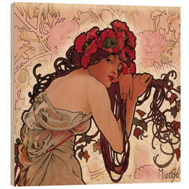Print på træ  The Seasons 1896: Summer (detalje) - Alfons Mucha