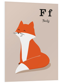Print på skumplade  The animal alphabet - F like fox - Sandy Lohß