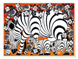 Premium-plakat  Zebra mother with baby - Zuberi