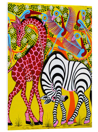 Print på skumplade  Zebra with Giraffe in the bush - Omary