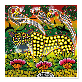 Premium-plakat Age leopard in the bush thicket