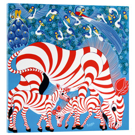 Akrylbillede  Zebras in red - Mustapha