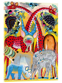 Akrylbillede  Colorful wild animals of Africa - Lewis