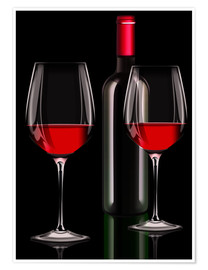Premium-plakat Red wine, red wine bottle with two glasses of red wine