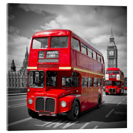 Akrylbillede  LONDON Red Buses - Melanie Viola