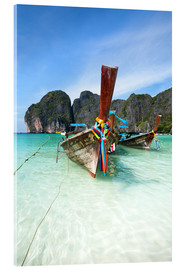 Akrylbillede  Decorated wooden boats, Thailand - Matteo Colombo