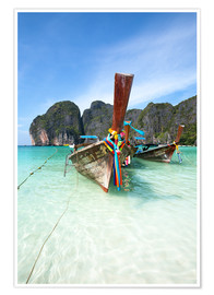 Premium-plakat Decorated wooden boats, Thailand