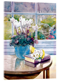 Akrylbillede  Flowers and book on table - Julia Rowntree