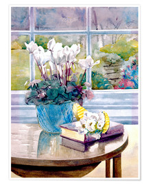 Premium-plakat  Flowers and book on table - Julia Rowntree
