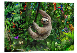 Akrylbillede  Sloth in the jungle - Adrian Chesterman