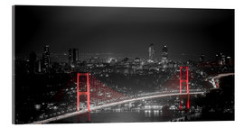 Akrylbillede  Bosporus-Bridge at night - color key red (Istanbul / Turkey) - gn fotografie