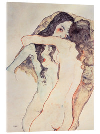 Akrylbillede  Two Women Embracing - Egon Schiele