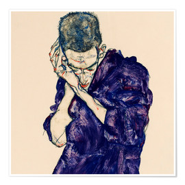 Premium-plakat  Young Man In Purple Robe With Clasped Hands - Egon Schiele