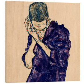 Print på træ  Young Man In Purple Robe With Clasped Hands - Egon Schiele