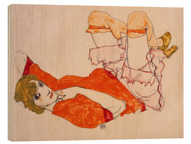 Print på træ  Wally in a red blouse with knees lifted up - Egon Schiele
