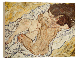 Print på træ  The Embrace (Lovers II) - Egon Schiele