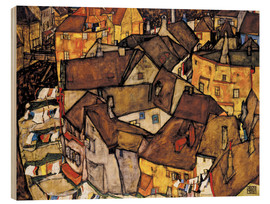 Print på træ  Krumau - Crescent of Houses (The small City V) - Egon Schiele