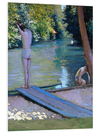 Print på skumplade  Bathers on the banks of the Yerres - Gustave Caillebotte