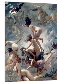 Print på skumplade  Witches going to their Sabbath - Luis Ricardo Falero