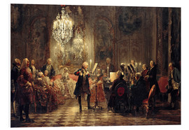 Print på skumplade  Frederick the Great Playing the Flute at Sanssouci - Adolph von Menzel